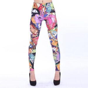 Anime Adventure Time Print Women's elastic Leggings sport pants Full Length slim