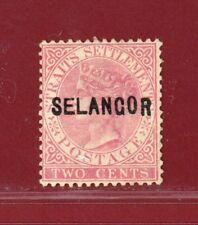 Malaya Selangor 1882 #7, 2c Rose Overprinted, Mint, No Gum, SCV $160.00