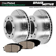 Front Drill Slot Brake Rotors And Ceramic Pads For Silverado Sierra