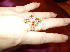 S SILVER very large  mix gem cluster ring 2 x 3.5 cen  size p used once or twice