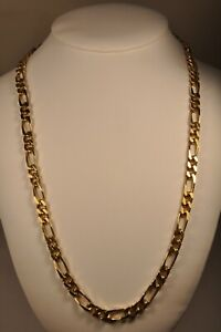 COLLIER VINTAGE HOMME PLAQUE OR GROSSE MAILLE GOLD PLATE NECKLACE