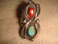 VTG. OLD PAWN NAVAJO STERLING SILVER TURQUOISE & RED CORAL CORNFLOWER RING 6 1/2