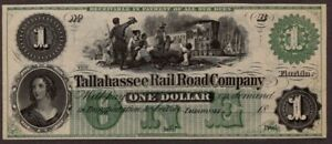 Tallahassee RailRoad Company, $1.00, Obsolete Currency, Gem Uncirculated, NICE!!