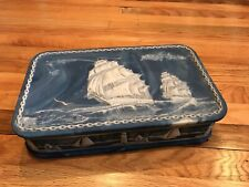 Vintage Incolay Stone Studios Sailing Ships White Jw Roberts Jewelry Box 12�
