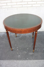 English Edwardian Walnut Stencil Inlaid Round Leather Top Center Table, Irwin