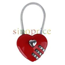 Heart Shaped 3 Digits Travel Luggage Suitcase Padlock Alloy Coded Lock Red