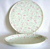 Arzberg circa 1930 Cake Plate and Oval Serving Dish Pink Floral Gold Trim - EXC