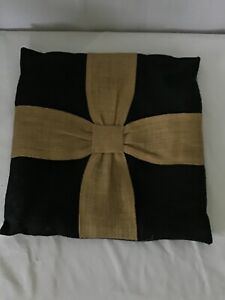 Burlap Pillow Cover Black with Natural Ribbons 16x16