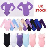UK Kids Girls Ballet Leotard Gymnastics Jumpsuits Dancewear Bodysuits Costumes
