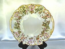 Antique Limoges AK France Hand Painted Floral with Gold Design Plate 10 1/2""