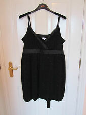 size 18 very short dress / long top black shimmer strappy puffball hem NEW LOOK