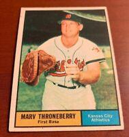 1961 Topps # 57 Marv Throneberry Baseball Card Boston Red Sox