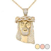 Solid Gold Diamond Jesus  Pendant Necklace (Yellow White Rose)