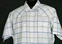 ELY Cattleman Mens Cowboy Pearl Snap Western Rodeo Shirt XXL White Blue Plaid
