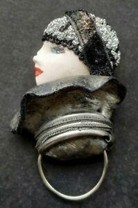 Art deco Style vogue Lady Brooch - Vintage Costume Jewellerey
