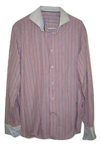Robert Graham Striped Red White Blue Flip Cuff Button Front Shirt Mens 43/17