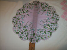 VINTAGE FLORAL1950'S SCALLOPED ROUND-ISH TABLE SCARF HANKIE HANDKERCHIEF