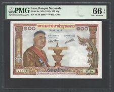 Lao 100 Kip ND(1957) P6a Uncirculated Grade 66