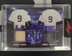 2021 LEAF ULTIMATE SPORTS ROGER MARIS BARRY PEPPER DUO JERSEY RELIC PURPLE #8/8!