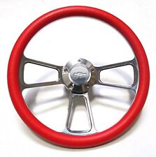 "Red Steering Wheel 14"" Billet Muscle Style Wheel Camaro, Chevelle, El Camino"
