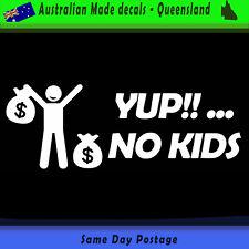 Vinyl Car Sticker -  Yup No Kids (white)  Stick Figure Family