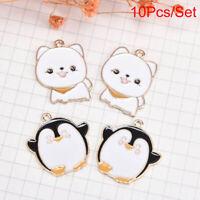10Pcs/Set Enamel/Alloy Penguin Dog Charms Pendant Jewelry DIY Making Craft Gif>