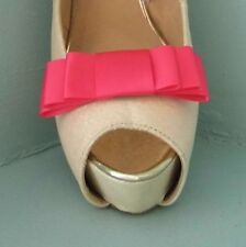 2 Handmade Cerise Pink Triple Bow Shoe Clips - other colours on request
