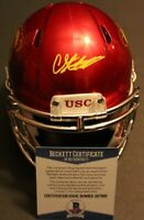 Chris Steele Signed USC Trojans Mini Football Helmet w/Beckett COA Fight On! 1 C