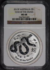 2013-P AUSTRALIA $1 YEAR OF THE SNAKE 1oz SILVER COIN *NGC MS 68*  LOT#L389