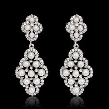 Glamorous White Gold Plated Pearl Crystal Bridal Wedding Dangle Earrings
