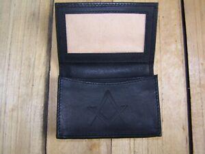 Masonic symbol Black Leather wallet credit card size, licence / ID holder it126