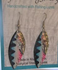 Fashion Earrings - Made with 3  Fishing Lures- silver black blue white pink