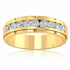 0.66ct Real Diamond Mens Rings Fine 14Kt Yellow Gold Round Cut Band SI1