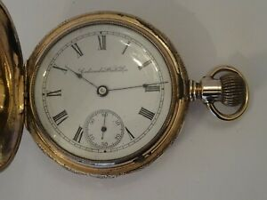 STUNNING 14K GOLD/F AMERICAN COLUMBUS, 18S HUNTER CASED POCKET WATCH, FANCY CASE