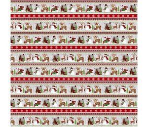 STUDIO E SNOW MERRY CHRISTMAS BORDER STRIPE 100% COTTON 5696-98