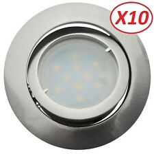 Lot de 10 Spot Led Encastrable Complete Satin Orientable Blanc Neutre eq. 50W