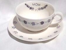 Soup or Large Coffee Mug w/ Matching Saucer for Mom w/ Purple Flower Border New