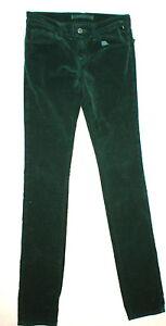 New J Brand Jean Velvet Womens Dark Green Dupes 25 Pencil Leg Cord Corduroy Tall