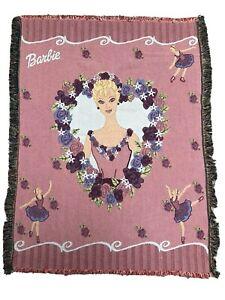 "Vintage BARBIE Ballerina Woven Tapestry Throw Blanket 42x54"" The Northwest Co."