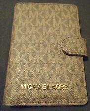 NWT MICHAEL KORS JET SET TRAVEL PASSPORT CASE WALLET BROWN PVC/ACORN GOLD $98 MK
