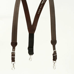 N8512402 Nocona Brown Gallus Leather Suspenders with Basketweave Tooling NEW