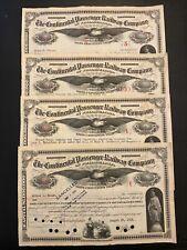 Set of 4: CONTINENTAL PASSENGER RAILWAY of PHILADELPHIA Stock Certificates 1934