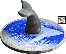 2018 'Whale's Tail Soapstone Sculpture' Color Proof $50 Silver 5oz.Coin(18585)NT