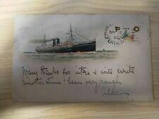 1902 Australian Vintage P and O Cruises Perth Postmark Fremantle Ship Postcard