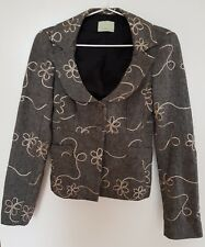 REVIEW Grey/Cream Vintage Style   Wool Blend Jacket Size 6