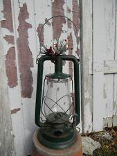 Antique PAULL'S TUBULAR BARN LANTERN #0 Green Kerosene Lamp Holiday Nice Shape