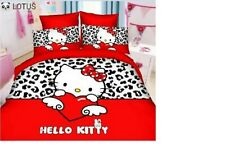 Bedsheet King Size Red Hello kitty Handmade PolyCotton with 2 pillow cover
