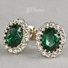 18K GF ROSE GOLD MADE WITH SWAROVSKI CRYSTAL STUD GREEN OVAL WEDDING EARRINGS