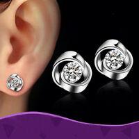 1Par Hermoso Aretes Pendientes De Botón 925 Plata Cristal Joyería Earrings Mujer