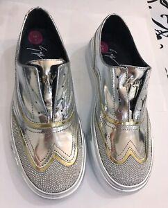 Giuseppe Zanotti Metallic Silver Gold Leather Sneakers Trainers Size 3 UK-NEW